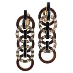 Diamond Enamel 18 Karat Yellow Gold Dangle Earrings
