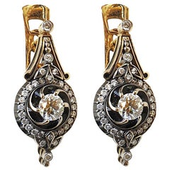 Diamond Enamel 18 Karat Yellow Gold Earrings