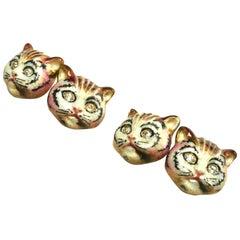 Diamond, Enamel and Gold Cat Cufflinks