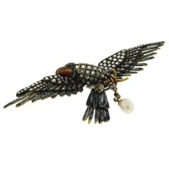 Diamond Enamel Antique Eagle Brooch