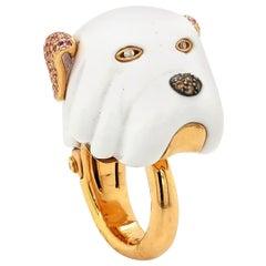 Diamond Enamel Bulldog Ring in 18 Karat Rose Gold