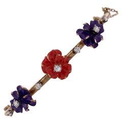 Diamond Enamel Floral Vintage Bangle Bracelet 14 Karat Yellow Gold