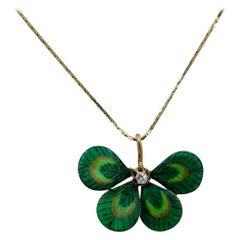 Diamond Enamel Four Leaf Clover Shamrock Flower Pendant Antique, Victorian