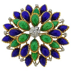 Diamond Enamel Gold Brooch Pin