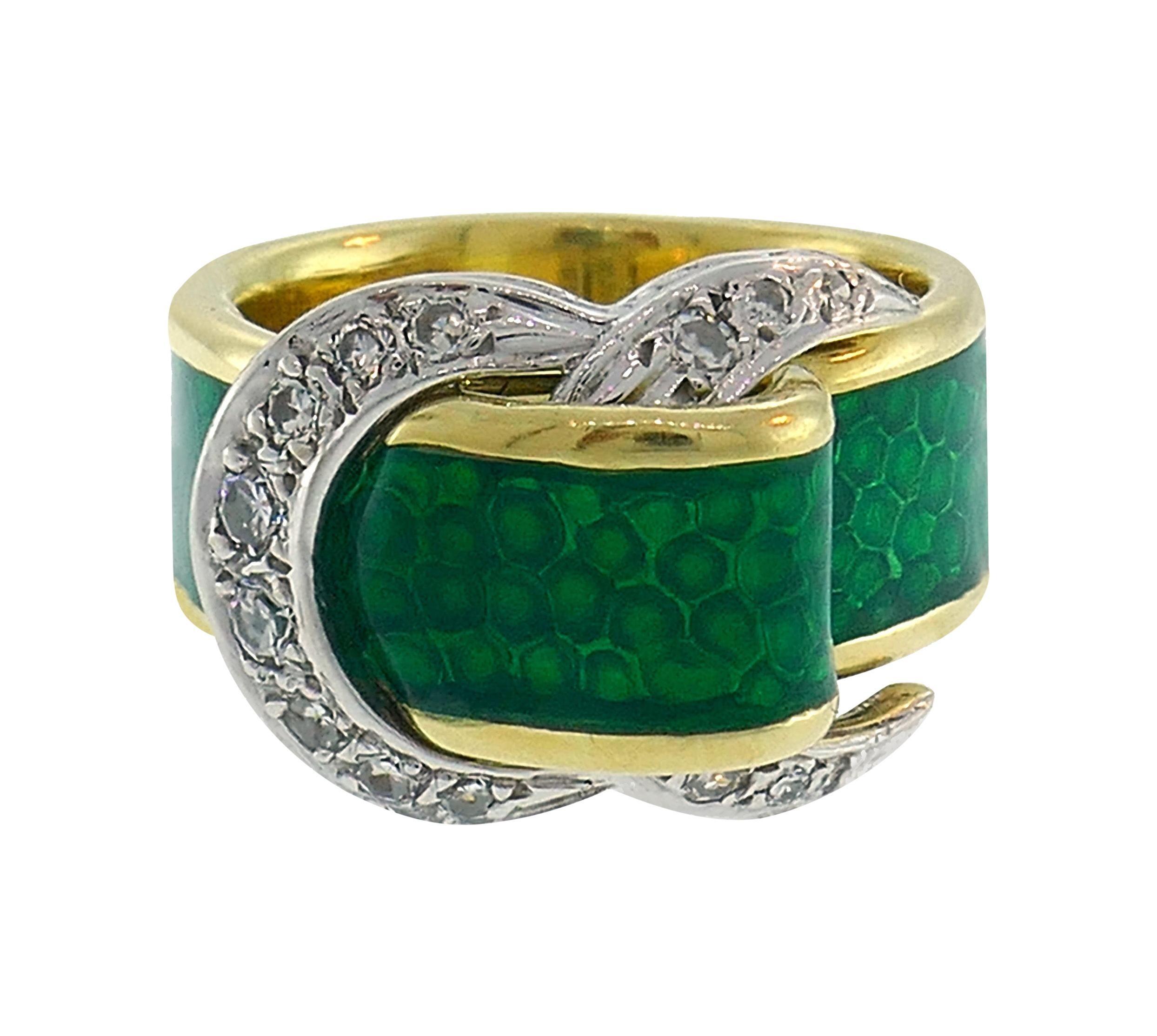 Diamond Enamel Gold Buckle Ring Art Nouveau, Deco