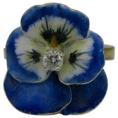 Diamond Enamel Pansy Flower Ring Antique Victorian 18 Karat Gold