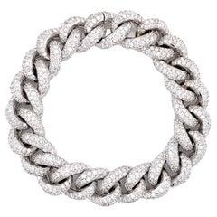 Diamond Frosted 18 Karat White Gold Cuban Link Bracelet