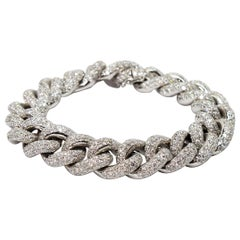 Diamond Encrusted 18 Karat White Gold Cuban Link Bracelet