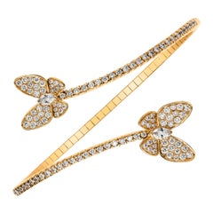 Diamond Encrusted Butterfly Flexible Bangle Bracelet