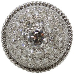 Diamond Encrusted Platinum Dome Ring