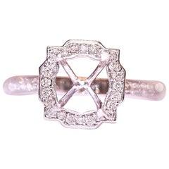 Diamond Engagement Bridal Ring 14 Karat White Gold .35 Carat Total Weight