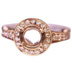 Diamond Engagement Bridal Ring 14 Karat Yellow Gold White Gold .50 Carat Total