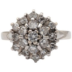 Diamond Dome Cluster Ring 18 Karat White Gold, Ring Size 6.5