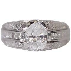 Diamond Engagement Fashion Cocktail Ring Platinum Cubic Zirconia Center Simon G