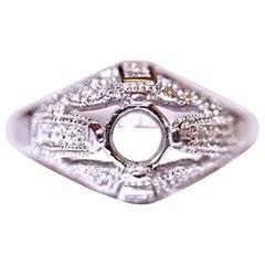 Diamond Engagement Fashion Ring 14 Karat White Gold .55 Carat Total Weight