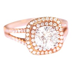 Diamond Engagement Fashion Ring 14 Karat Yellow White Gold Cubic Zirconia Center