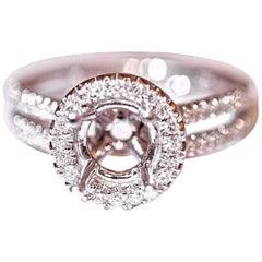 Diamond Engagement Fashion Ring 18 Karat White Gold .58 Carat Total Weight