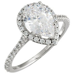 Diamond Engagement Ring 0.50 Carat Set in 14 Karat White Gold