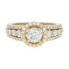 Diamond Engagement Ring, 14 Karat Yellow Gold Halo 1.35 Carat