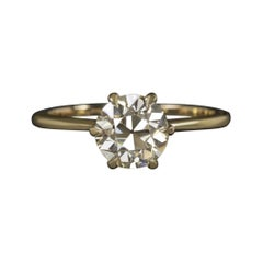 Diamond Engagement Ring 1.42Carat Old European Cut VS1 Yellow Gold Set Solitaire