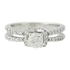 Diamond Engagement Ring, 18 Karat White Gold Halo Round Cut 1.03 Carat
