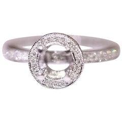 Diamond Engagement Ring Bridal Ring 14 Karat White Gold .48 Carat Diamonds