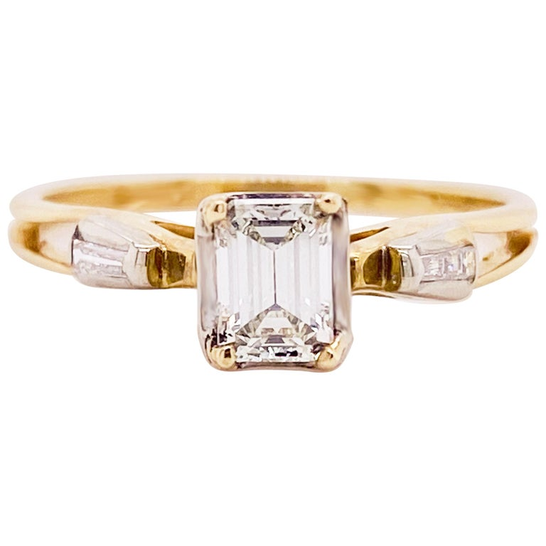 Diamond Engagement Ring, Cathedral Ring, Emerald Cut Ring, 14 Karat Yellow Gold For Sale