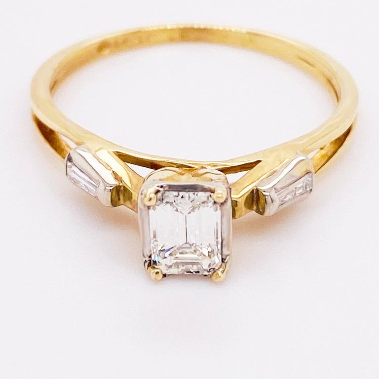 Modern Diamond Engagement Ring, Cathedral Ring, Emerald Cut Ring, 14 Karat Yellow Gold For Sale