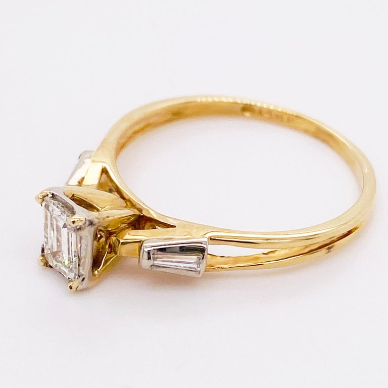 Diamond Engagement Ring, Cathedral Ring, Emerald Cut Ring, 14 Karat Yellow Gold In New Condition For Sale In Austin, TX