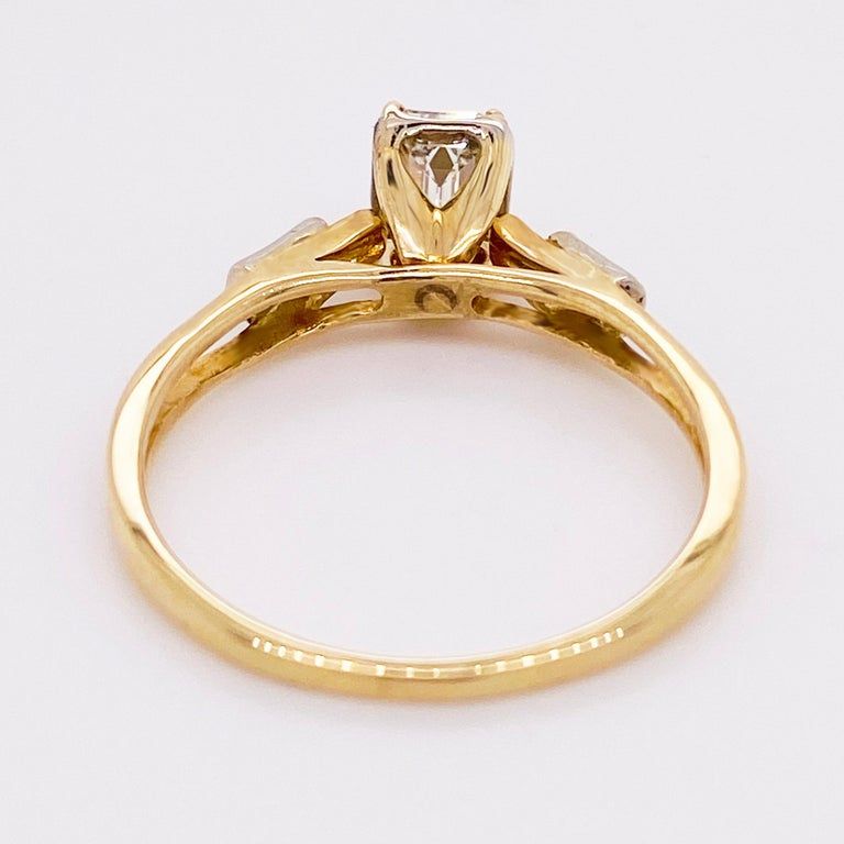 Diamond Engagement Ring, Cathedral Ring, Emerald Cut Ring, 14 Karat Yellow Gold For Sale 1