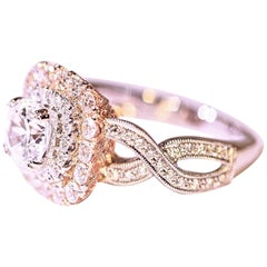 Diamond Engagement Ring Cocktail Ring 14 Karat White and Rose Gold CZ Center