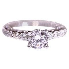 Diamond Engagement Ring Cubic Zirconia Center Platinum 1.05 Carat Total