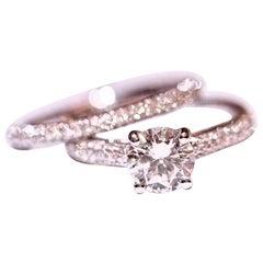 Diamond Engagement Ring Diamond Wedding Band .97 Carat Total with Cubic Zirconia