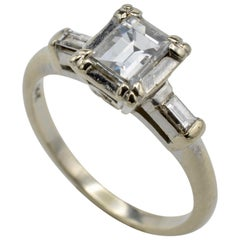 Diamond Emerald Cut Engagement Ring 1950