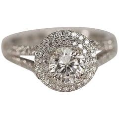 Diamond Engagement Ring Right Hand Ring 14 Karat White Gold Cubic Zirconia