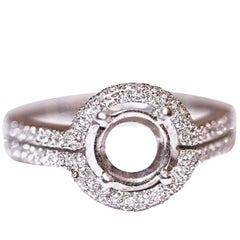Diamond Engagement Ring Fashion Ring 18 Karat White Gold .58 Carat Total Weight