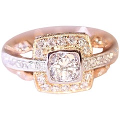 Diamond Engagement Ring or Right Hand Ring 18 Karat White Gold and Rose Gold
