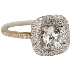 Diamond Engagement Ring or Right Hand Ring with Cubic Zirconia Center