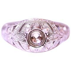 Diamond Engagement Ring Right Hand Ring 14 Karat Filigree White Gold