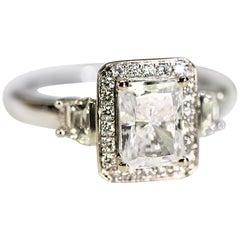 Diamond Engagement Ring Right Hand Ring Cubic Zirconia Center