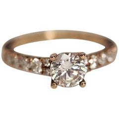 Diamond Engagement Ring Rose Gold with Cubic Zirconia Center