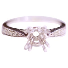 Diamond Engagement Ring Solitaire Ring 14 Karat White Gold .23 Carat Diamonds