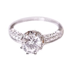 Diamond Engagement Ring Solitaire Ring 14 Karat White Gold Zirconia in Center