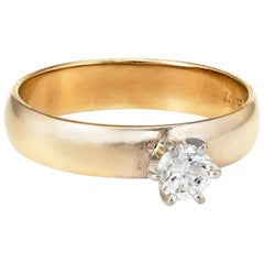 Diamond Engagement Ring Vintage 14 Karat Yellow Gold Estate Fine Jewelry
