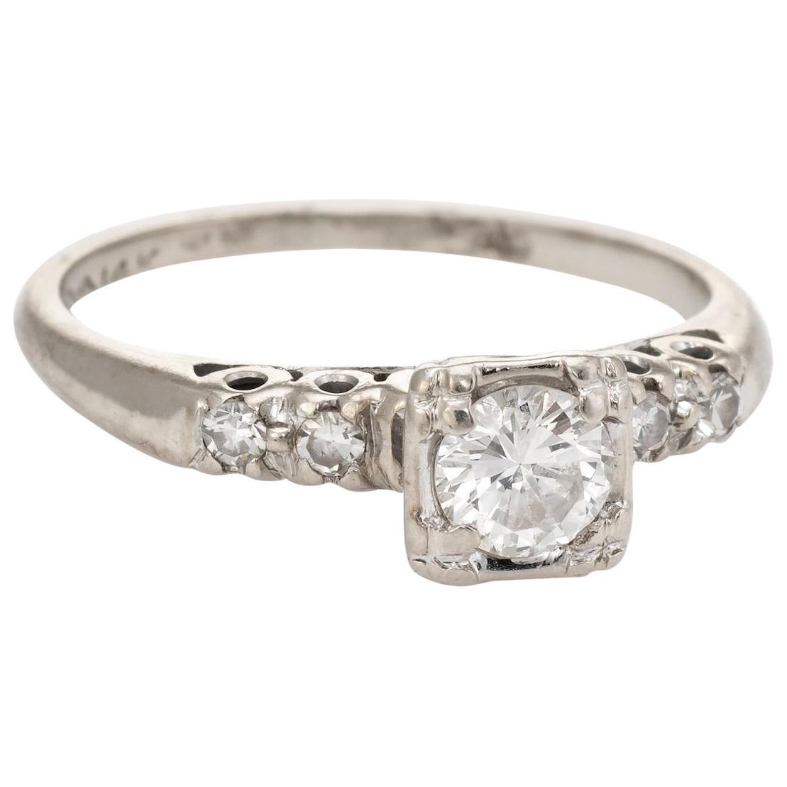 Diamond Engagement Ring Vintage 14k White Gold