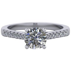 1 Carat, Round Cut Diamond Engagement Ring 'wed fit, 4 claws'