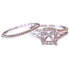 Diamond Engagement Ring Wedding Band 14 Karat White Gold .15 Carat Total Weight