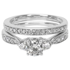 Diamond Engagement Ring Wedding Set in 14 Karat White Gold '1.35 Carat'
