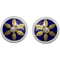 Diamond Engraved Flower Blue Enamel Earrings in 18 Karat Gold