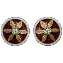 Diamond Engraved Flower Red Enamel Earrings in 18 Karat Gold